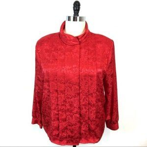 Vintage Red Satin High Collar Blouse Plus Size 18